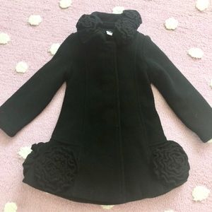 Girls Kate Mack Black Coat Ruffled Flowers